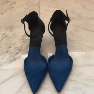 Zara Blue and black suede pointy toe.